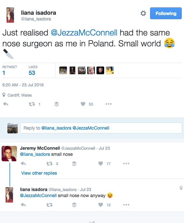 Liana Isadora Van Riel and Jeremy McConnell exchange tweets July 23, 2016