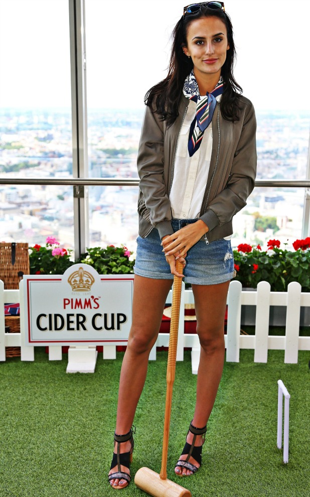 Lucy Watson at the launch of Europe's highest croquet lawn, hosted by Pimm's Cider Cup, at The View from The Shard. The unique pop up is open for four weeks until Sunday 21st August, and was launched to celebrate the 165th anniversary of both Pimm's and croquet