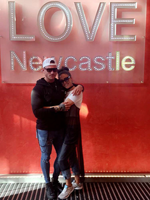 Love Island's Sophie Gradon and Tom Powell share Snapchats from day in Newcastle 25 July 2016