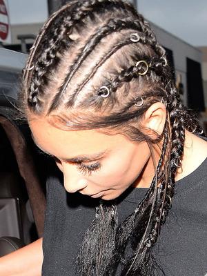 Kim Kardashian wears her hair in braids with hair rings, Los Angeles, 4th August 2016