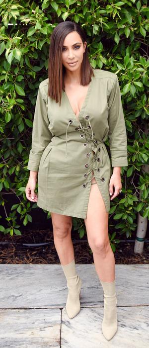 Kim Kardashian wears khaki to the Knc Beauty Launch in Los Angeles, 1st August 2016