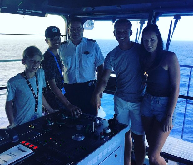 Jeff Brazier, girlfriend Kate and his sons Bobby and Freddy enjoy a Caribbean cruise - 3 Aug 2016
