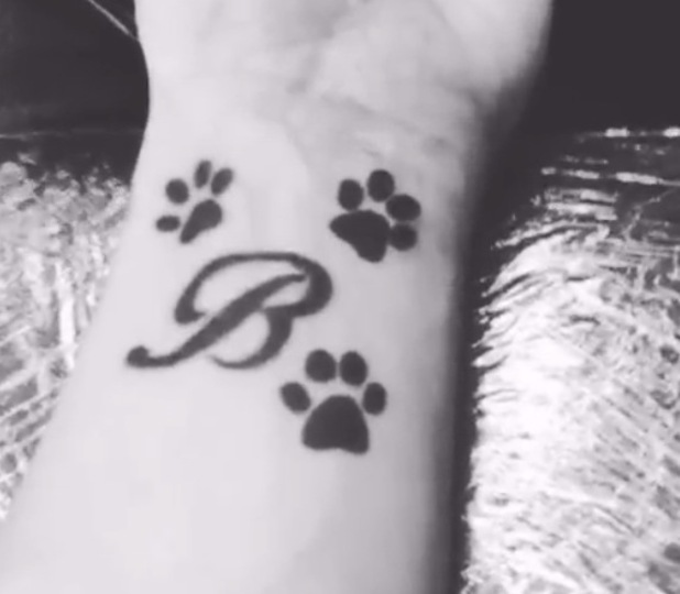 Bobby Norris tattoo for late puppy Beau, Instagram 1 August