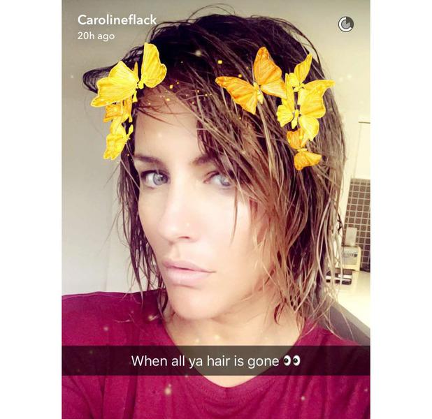 Love Island presenter Caroline Flack shows off her much shorter hair on Snapchat, 31st July 2016