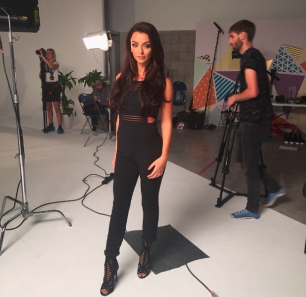 Love Island's Kady McDermott shooting with Miss Pap, Manchester, 5th August 2016