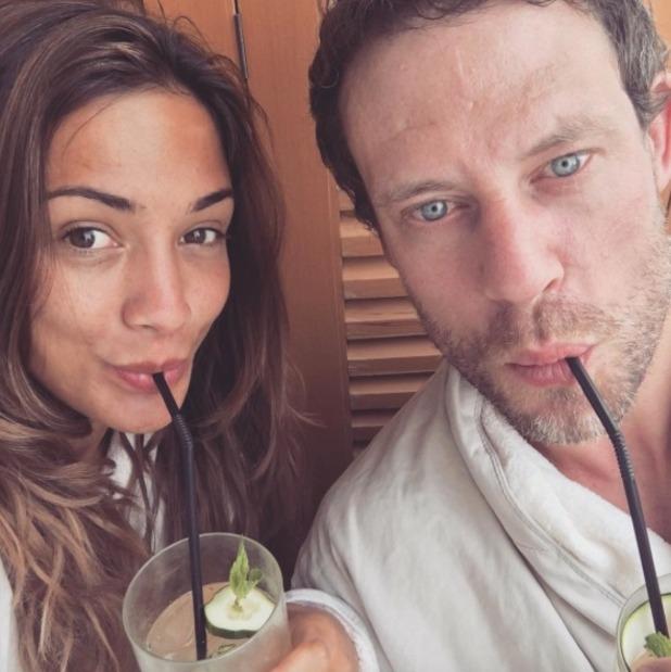 Frankie Bridge and Wayne Bridge pose for a selfie while enjoying a spa day, 19 July 2016