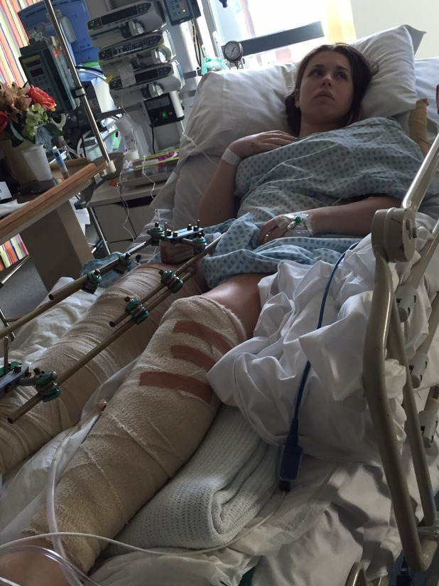 Vicky Balch in hospital after the crash