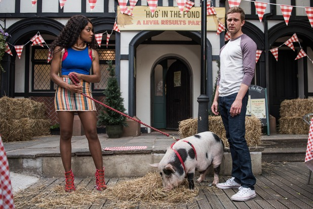 Hollyoaks, Nathan and Lisa fight over the pig, Tue 16 Aug