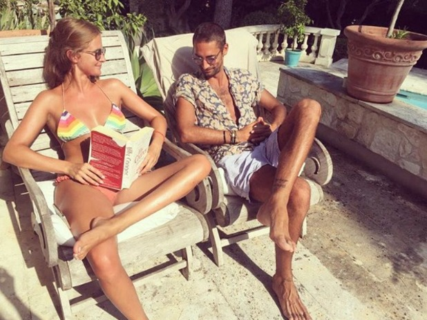 Millie Mackintosh compares tans with Hugo