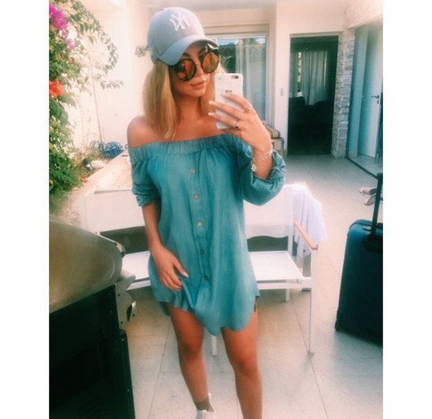 Love Island's Olivia Buckland wears Lasula in Marbella as she prepares to fly back to the UK, 9th August 2016