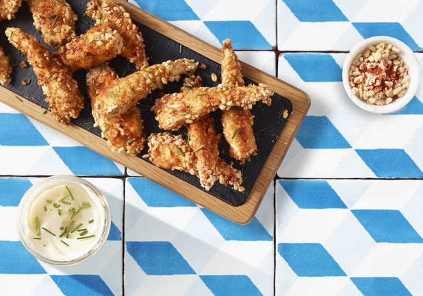 Rice Pops-coated Chicken Goujons - picture to accompany recipe by Sainsbury's