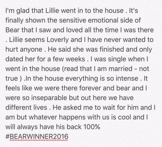 Chloe Khan releases statement about Bear and Lillie - 18 August 2016