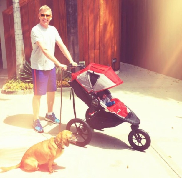 Patrick Kiely takes his son and dog out for a spin