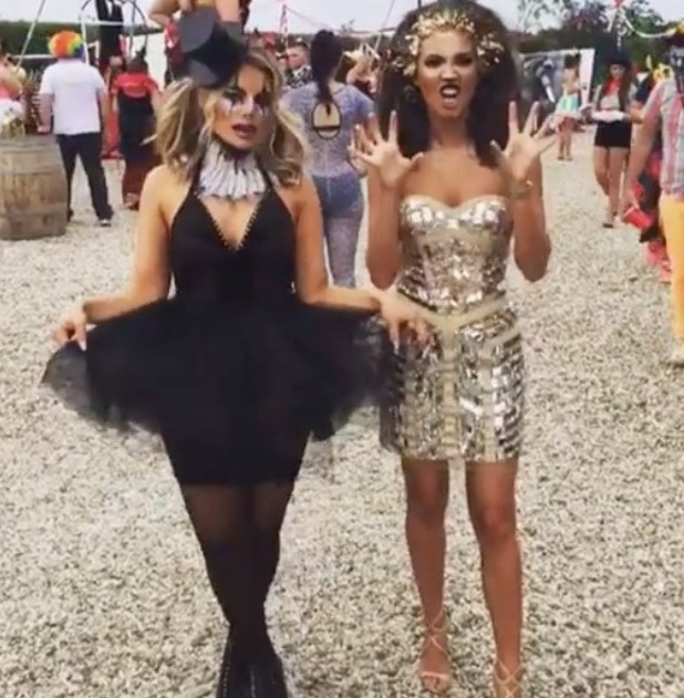 Megan McKenna and Danielle Armstrong pictured at TOWIE circus finale - 15 Aug 2016
