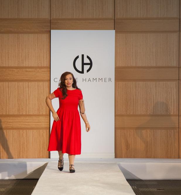 Karen walking for Carrie Hammer at New York Fashion Week