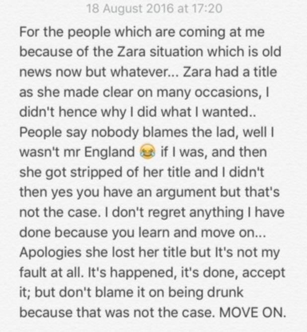 Alex Bowen tweets about Zara Holland's Miss GB dethroning, Twitter 18 August