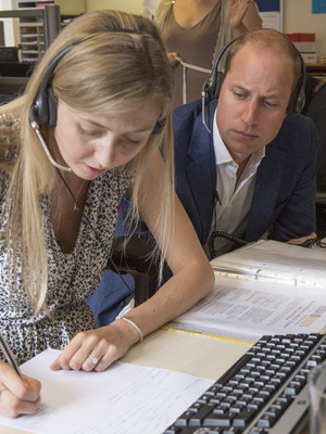 Prince William, Duke of Cambridge visits a helpline service run by one of the eight charity partners of Heads Together on August 25, 2016 in London, England.