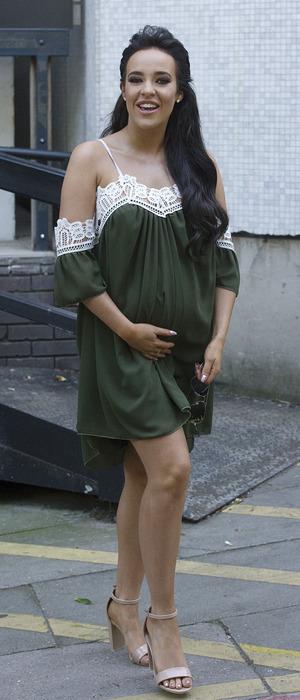 Pregnant Stephanie Davis outside ITV Studios in London, 27 August 2016