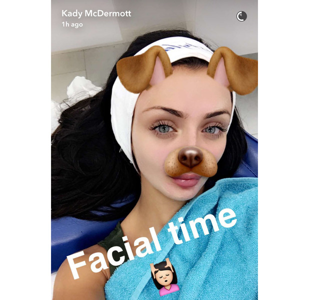 Love Island star Kady McDermott pays a visit to Mac Aesthetics for an L.E.D facial, shows her fans and followers on Snapchat, Manchester, 25 August 2016