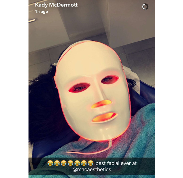 Love Island's Kady McDermott pays a visit to Mac Aesthetics for an L.E.D facial, shows her fans and followers on Snapchat, 25 August 2016