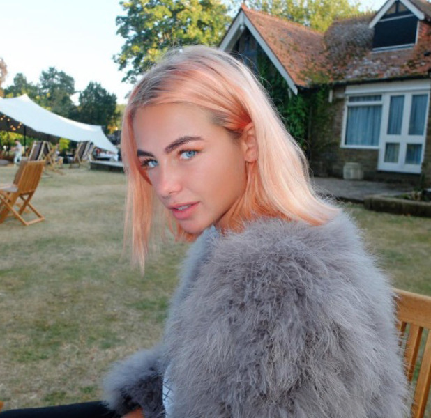 Made In Chelsea's Jess Woodley shows off her peach hair on Instagram, 20 August 2016
