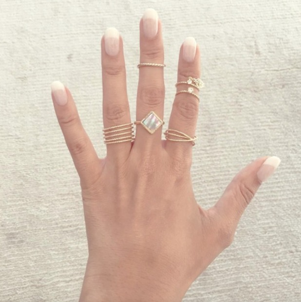 Leona Lewis French manicure using Kiss Nails, 22 August 2016
