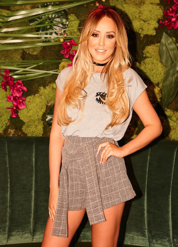 Former Geordie Shore star Charlotte Crosby launches late-summer fashion collection with In The Style, shorts and T-shirt, 26 August 2016