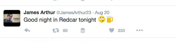 James Arthur tweets about night in Redcar August 2016