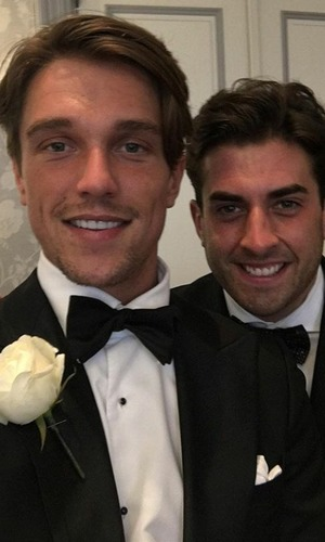 Lewis Bloor and James 'Arg' Argent at wedding, 4/9/16