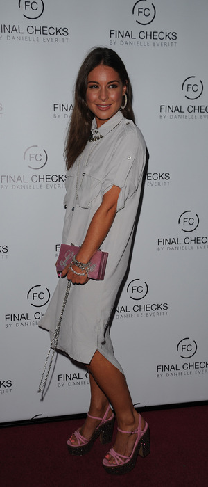 Made In Chelsea's Louise Thompson wears white dress to the Final Checks salon opening in Hornchurch, Essex, 2 September 2016
