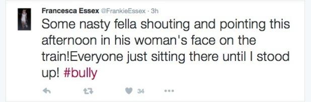 Frankie Essex confronts passenger on train - 1 September 2016