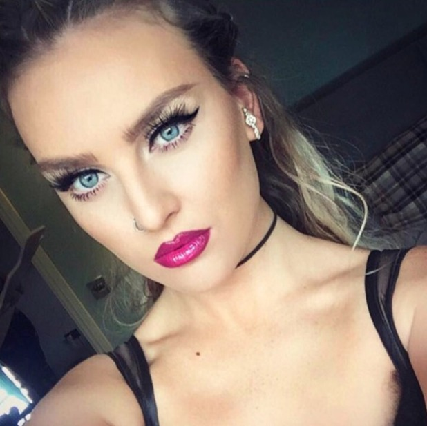 Perrie Edwards hot pink lips, by Adam Burrell, 29 August 2016