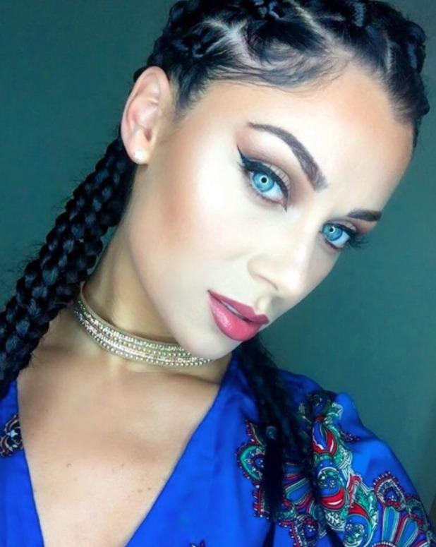 Cally Jane Beech rocks braided hair thanks to hairdresser, Dominic Ackah-Amihere, 28 August 2016