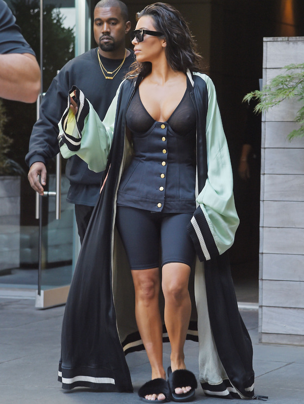 Kim Kardashian wears completely see-through top while out and about in New York City with rapper husband Kanye West, 30 August 2016