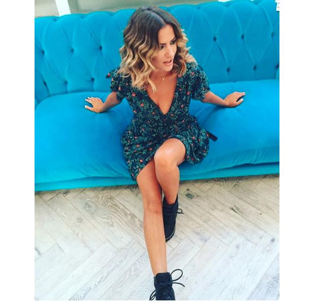 Caroline Flack wears Topshop in Instagram picture, London, 30 Auust 2016