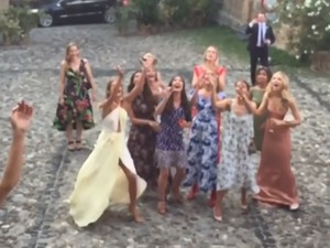 Millie Mackintosh rushes to catch the bouquet