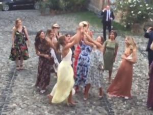 Millie Mackintosh dives to catch wedding bouquet