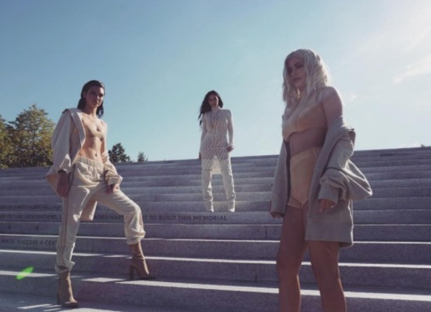 Kim Kardashian shows off Yeezy season 4 with little sisters Kendall and Kylie
