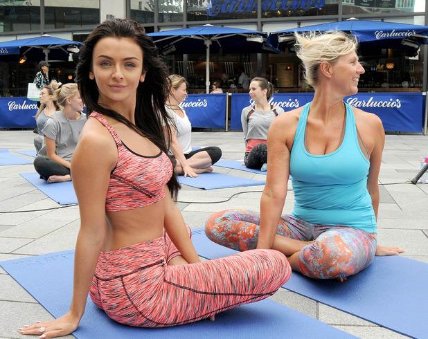 Love Island's Kady McDermott conducts yoga class at Highcross Leicester