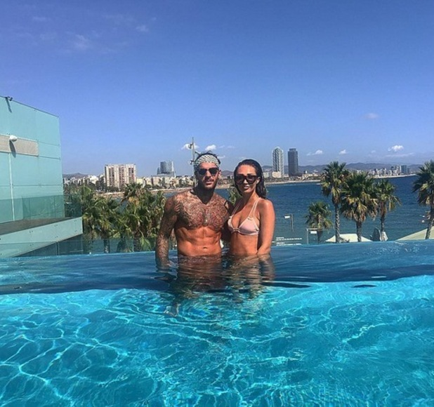 Pete Wicks and Megan McKenna pose in the pool in Barcelona - 8 Sep 2016