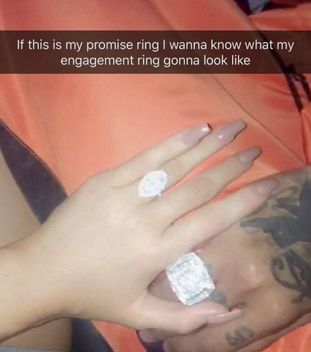 Kylie Jenner shows off her promise ring on Snapchat, 8 September 2016