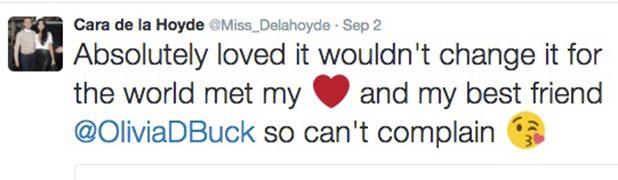 Cara de la Hoyde tweets about Love Island 5 Sept 2016