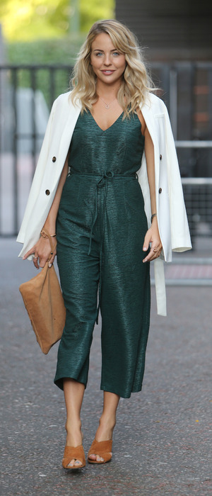 TOWIE star Lydia Bright wears green jumpsuit outside the ITV Studios in London, 13 September 2016