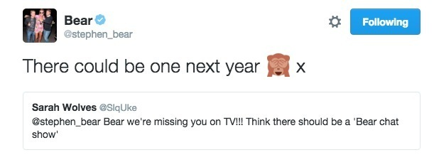 Stephen Bear tweets about having his own chat show 12 September