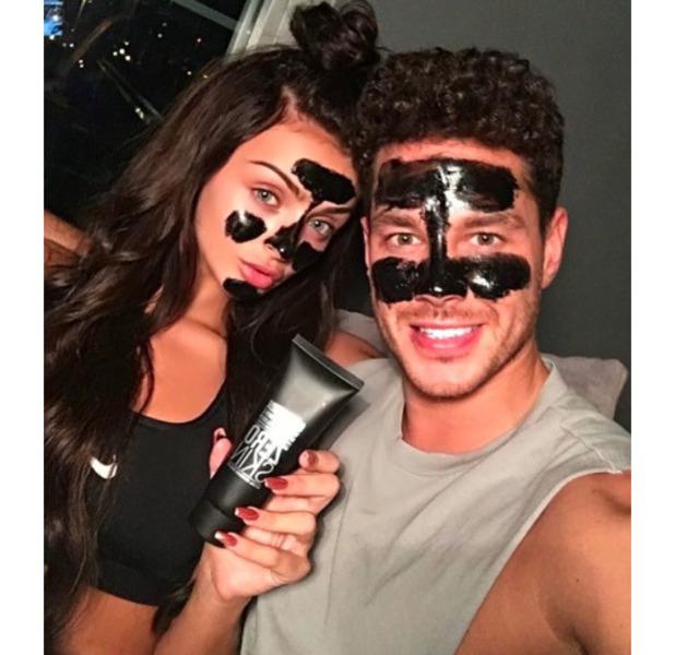 Love Island stars Kady McDermott and Scott Thomas relax with a face mask, 12 September 2016