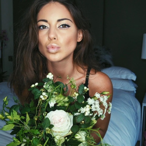 Louise Thompson jokes about having to buy her own flowers