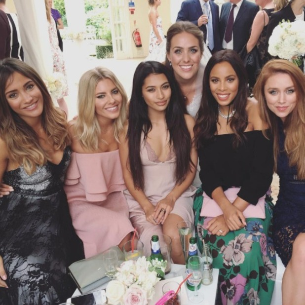 The Saturdays - Una Foden, Mollie King, Frankie Bridge, Vanessa White and Rochelle Humes at a mutual friend's wedding, September 2016