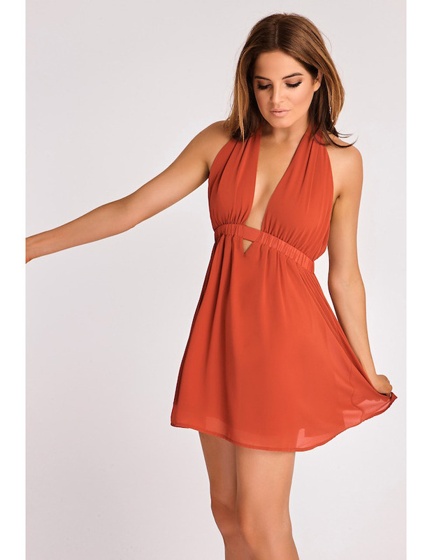 Made In Chelsea's Binky Felstead launches transeasonal fashion collection with In The Style, Orange Plunge dress £29.99 12 September 2016
