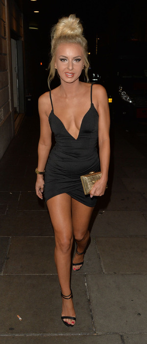 Ex On The Beach's Holly Rickwood out and about in London wearing tiny little black dress, London, 20 September 2016