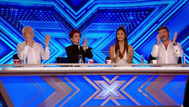 X Factor judges: Simon Cowell, Nicole Scherzinger, Sharon Osbourne, Louis Walsh 19 September